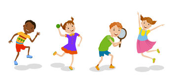 Illustration featuring playing kids Royalty Free Stock Photos