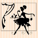 Illustration Featuring the Silhouette of a Woman Stock Photography