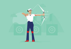 Illustration Of Female Archer Competing In Event stock illustration