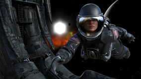 Illustration of female astronaut floating in space next to an alien derelict with a sun, planet and red nebula in the background. 3d illustration of female stock illustration