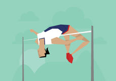 Illustration Of Female Athlete Competing In High Jump Event Stock Image