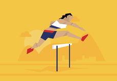 Illustration Of Female Athlete Competing In Hurdles Race Stock Images