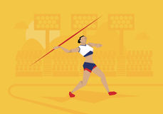 Illustration Of Female Athlete Competing In Javelin Event Royalty Free Stock Photos