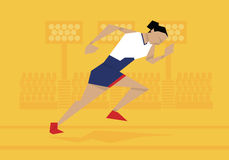Illustration Of Female Athlete Competing In Sprint Race Stock Photography