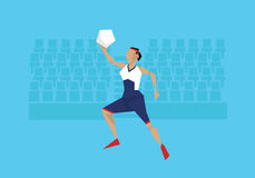 Illustration Of Female Basketball Player Competing In Event royalty free illustration