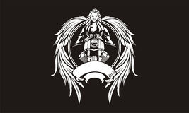 Illustration of female bikers with wings goddess. Royalty Free Stock Images