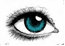 Illustration female blue eye created from polygons royalty free stock photos