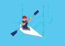 Illustration Female Canoeist Competing In Kayak Event Royalty Free Stock Photography