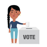 Illustration Of Female Character Putting Vote In Ballot Box Royalty Free Stock Photo