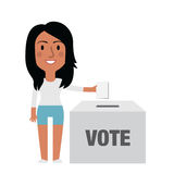Illustration Of Female Character Putting Vote In Ballot Box Royalty Free Stock Photos