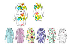 Illustration of female decorated hooded long rain coat Stock Photography