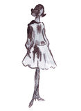 Illustration of a female in a dress with a fluffy skirt and fishnet stockings. On a white background Stock Photography