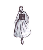 Illustration of a female in a dress with ruffles and corset Stock Images