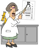 Female eye doctor pointing to an eye chart vector illustration