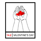 Female hands giving two red hearts, hand holding a red heart shape. Give Love on Valentine`s Day stock illustration