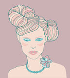 Illustration of female. Illustration of female head with glamourous hairstyle Stock Photography