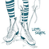 Illustration with female legs in skates Stock Photography
