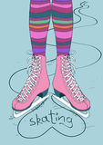 Illustration with female legs in skates Royalty Free Stock Photography