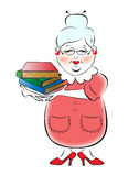 Illustration of female librarian. With a stack of books in their hands vector illustration