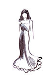 Illustration of a female in a long ball dress Royalty Free Stock Photography