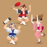 Dancers of Awa dance festival. Illustration of female and male dancers of Awa dance festival in Tokushima Prefecture on Shikoku in Japan Stock Image