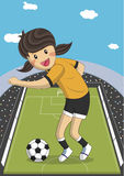 Illustration of a female soccer football player Stock Photography