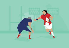 Illustration Of Female Soccer Rugby Competing In Match stock illustration