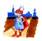 Illustration female super mouse  Royalty Free Stock Image