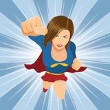 Female Superhero Flying Forward. Illustration of female superhero flying with clenched fist. Ready to fight Royalty Free Stock Image