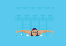 Illustration Of Female Swimmer Competing In Butterfly Event royalty free illustration