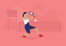 Illustration Of Female Tennis Player Competing In Match Royalty Free Stock Image