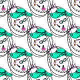 Illustration of a female toilet. Clothes and accessories. Seamless pattern. Stock Photo