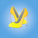 Illustration of the female yellow shoes Stock Images