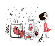 Illustration femme fatale with broken hearts. Human heart in glass jars like oligoriya finished relations. You can ispolzovat in magazines, covers, bags, T stock illustration