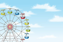 Illustration of a ferris wheel. In front of blue sky Stock Photography