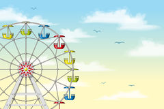 Illustration of a ferris wheel. In front of pastel sky Royalty Free Stock Photos