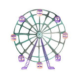 An illustration of a Ferris wheel painted in watercolor on a white background. Isolated circus, festival and amusement park element Royalty Free Stock Photos