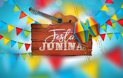 Illustration Festa Junina mit Akustikgitarre, Partei-Flaggen und Papierlaterne auf blauem Hintergrund Typografie auf Weinlese lizenzfreie abbildung