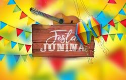 Illustration Festa Junina mit Akustikgitarre, Partei-Flaggen und Papierlaterne auf gelbem Hintergrund Typografie an Lizenzfreies Stockfoto
