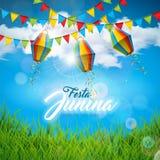 Illustration Festa Junina mit Partei-Flaggen und Papierlaterne auf blauem bew?lkter Himmel-Hintergrund Festival Vektor-Brasiliens stock abbildung