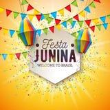 Illustration Festa Junina mit Partei-Flaggen und Papierlaterne auf gelbem Hintergrund Festival-Design Vektor-Brasiliens Juni stock abbildung