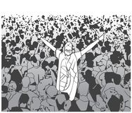 Illustration of festival crowd cheering at concert. Illustration of people having fun at festival live performance in black and white Royalty Free Stock Images