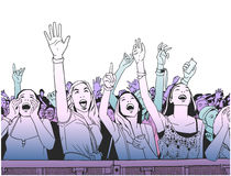 Illustration of festival crowd cheering at concert Stock Photos