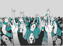 Illustration of festival crowd cheering at concert Stock Images