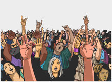 Illustration of festival crowd cheering at concert Royalty Free Stock Photos