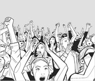Illustration of festival crowd cheering. Stylized drawing of people having fun at live performance Stock Photography