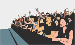 Illustration of festival crowd going crazy at concert. Stylized drawing of party crowd Stock Photos
