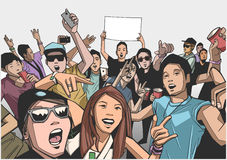 Illustration of festival crowd going crazy at concert Stock Photos