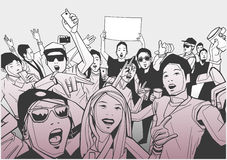 Illustration of festival crowd going crazy at concert. Stylized drawing of people having fun at live performance Royalty Free Stock Photography