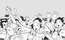 Illustration of festival crowd going crazy at concert Royalty Free Stock Image